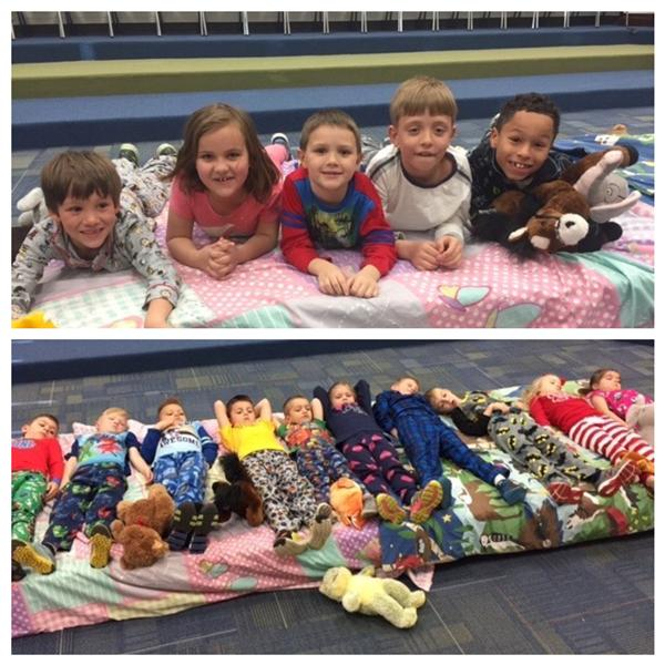 "PreK-2nd grade celebrating ""PJ Music Day"" with fun songs and games about bedtime!"