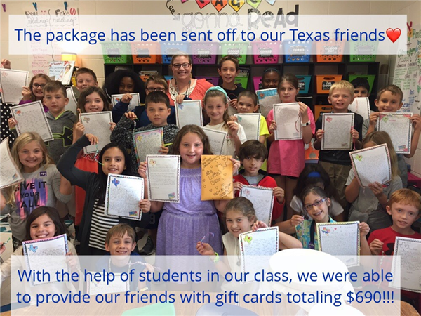 Ms. Randolph's students and their families donated gift cards to their Adopted Texas classroom totaling $690!!!