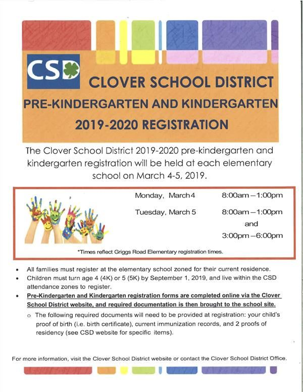 Pre-K and K Registration Information