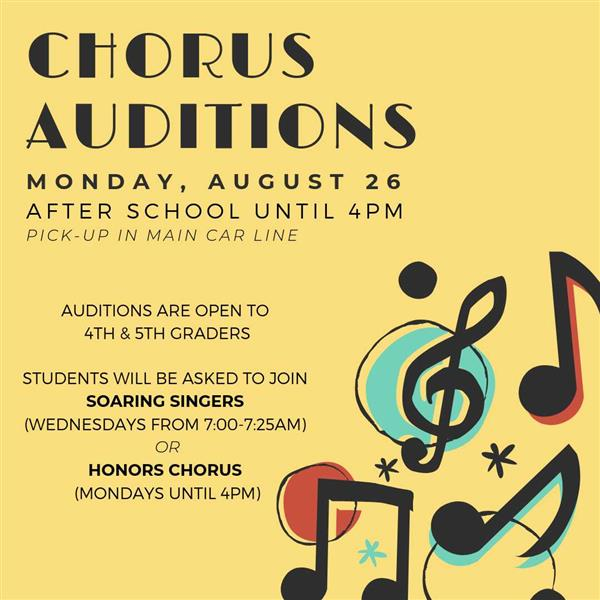 Honors Chorus Auditions for 4th/5th  Graders