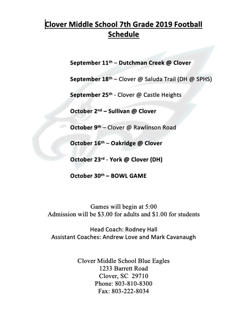 7th Grade Football Schedule