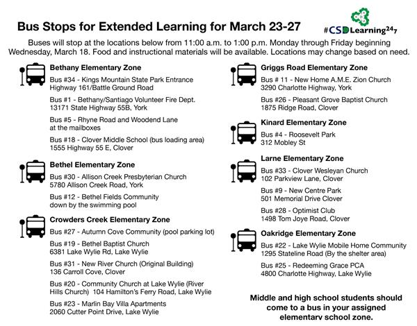 Bus Stops for Extended Learning and Meal pickup 3/23 - 3/27