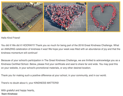 Certified Kindness School Letter