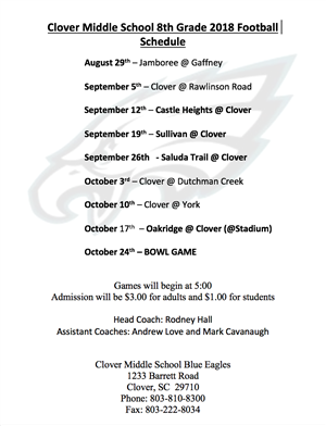 8th Grade Football Schedule